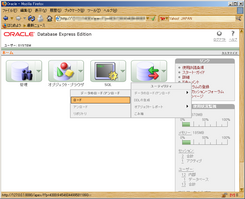 Oracle 10g Express Edition の管理画面